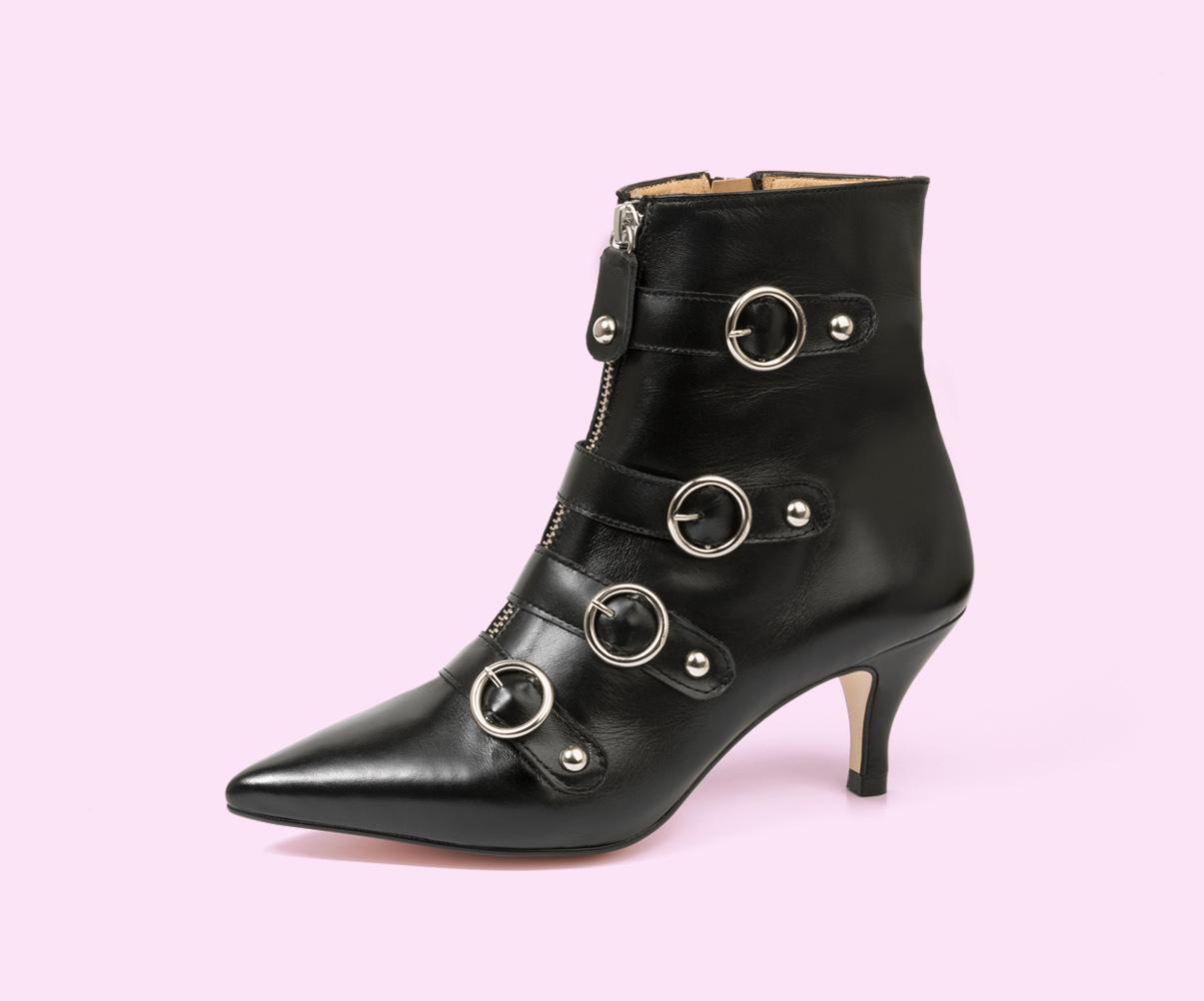zapatos botines con tacón para mujer fabricados por Sandra Stylo