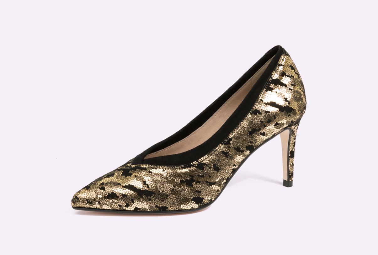 zapatos de tacón metalizados para mujer de la fábrica de zapatos Sandra Stylo